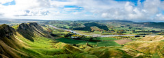 Panoramic view of the mountain Range ridge and surrounding valleys of farming land (stewart.watsonnz) Tags: mountain nature grass hill landscape field water sky outdoors countryside grassland valley plateau road river mountainrange noperson naturallandscape outdoor travel highland cropland mountainouslandforms scenery agriculture hillstation golfcourse background land overlooking painting green ruralarea large sitting view sea fell coast rural plain rocky shoreline hillside walkway summer geology rock path farmland