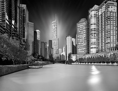 Chicago Skyline (ADW44) Tags: trump chicago skylkine river ice longexposure skyscrapers buildings water sonya7iii sonyalpha wide angle windy city monochrome blackandwhite