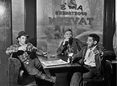 Elbow Benders: Having a beer in Art's Sportsman's Tavern on a rainy day in Colchester, Connecticut. November 1940. (polkbritton) Tags: jackdelano 1930s fsaowi vintagefashion connecticuthistory colshester bars libraryofcongresscollections explore