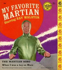 """My Favorite Martian, Little Golden Record—""""The Martian Song"""" and """"When I Was a Boy on Mars"""" (Alan Mays) Tags: ephemera recordcovers albumcovers covers recordsleeves sleeves paper printed myfavoritemartian televisionshows television tvshows tv shows sitcoms sciencefiction scifi raywalston actors men martians mars extraterrestrials martiansong themesongs songs themes tvthemesongs wheniwasaboyonmars satellitesingers music musicians groups records 45s 45rpm 45rpmrecords singles littlegoldenrecord humor humorous funny comic illustrations purple yellow red green 1960s old vintage typefaces type typography fonts circles logos"""