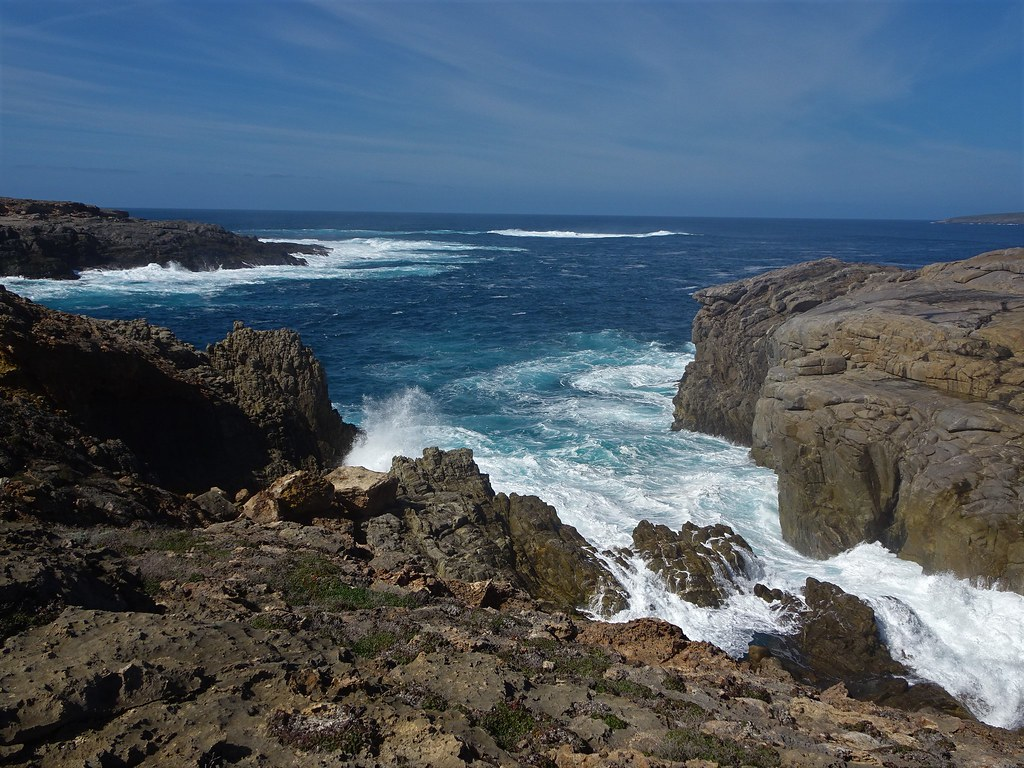 Whalers Way on Eyre Peninsula. A private coastal park near Port Lincoln. Known for its blow holes, crevasses, caverns, grottos etc.  A spectacular drive with such beautiful and rugged coastline open to the Southern Ocean.