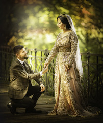 Muze and Akid (liesbet_sanders) Tags: muzeakid trouw wedding marriage kurdish henna xeftan love true kneel mand wife couple beautiful outside daytime light autumn colourful trouwen huwelijk cultural