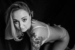Di-89 (TheseusPhoto) Tags: girl blonde female model modeling portrait portraiture women woman pose artportrait fineartportrait fineart boudoir lingerie underwear artisticlighting artistic sexy lovely beautiful eyes face look bnw blackandwhite blancoynegro monochrome tats tattoos