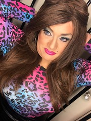 you caught me (Sissy kaylah) Tags: trans tv trannie transvestite tranny cd crossdresser crossdressing crossdress animalprint heavymakeup brunette makeup
