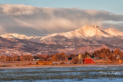 November 3, 2019 - A barn sits below Mount Meeker and Longs Peak. (Tony's Takes)