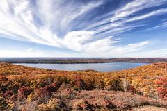 Attention Grabbing (Ben-ah) Tags: quabbinreservoir quabbin fall autumn foliage clouds bluesky fallscenery travelphotography water massachusetts