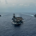 USS Ronald Reagan (CVN 76, USS Chancellorsville (CG 62) and the Japan Maritime Self-Defense Force Akizuki-class destroyer JS Fuyuzuki (DD 118) are underway in formation.