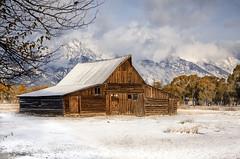 Kindness (karenhunnicutt) Tags: mormonrow moosewyoming grandtetons grandtetonnationalpark snow barn autumn mountains karenhunnicuttphotographycom