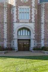 Doorway, Seigle Hall, Washington University — Clayton, Missouri (Pythaglio) Tags: seiglehall washingtonuniversity saintlouiscounty stlouiscounty clayton missouri gothic collegiategothic 2008 stone englishrevival stonework quoins parapets