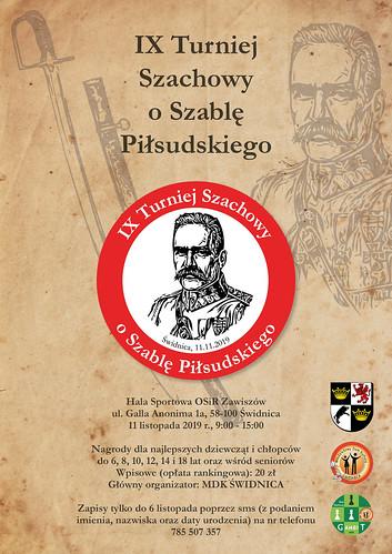 Plakat IX Turnieju Szachowego o Szablę Piłsudskiego