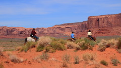Horse Rides and Rock Formations, Monument Valley - Monument Valley Tribal Park, Northern Arizona (danjdavis) Tags: rockformations desertlandscape monumentvalley monumentvalleytribalpark arizona horses riders horseriders