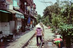 Hanoi Train Street (hiphopmilk) Tags: copyright©jaredyehwooehmoehfilms film analog analogue 35mm 135film kodakfilm kodak jaredyeh hiphopmilk nikonfm2 nikonfm2n nikon nikkor vietnam hanoi travel street streetphotography rail railway railroad track