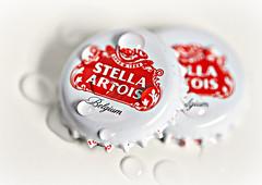 From Belgium with Love! (Through Serena's Lens) Tags: red white macro dof belgium highkey waterdroplets beercap macromondays brandsandlogos canoneos6dmarkii stellaartois
