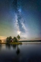 Frost Smokin' (Ole Henrik Skjelstad) Tags: norway lake fall fog mist water stars milkyway cabin forest trees galaxy