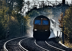 Misty Mow Cop Hop (whosoever2) Tags: uk united kingdom gb great britain wales nikon d7100 train railway railroad november 2019 rhtt gbrf class66 66775 66753 3j01 northstaffs mowcop cheshire