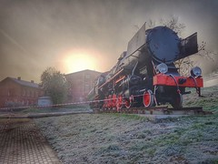 At sunrise (wojciechpolewski) Tags: sunrise sunlight industrial train locomotive railway frost coldweather morning clouds poland wpolewski streetexploration streetexplorer urbanexplorer photos photo