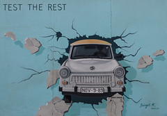 Trabant (michael_hamburg69) Tags: berlin germany deutschland wall thewall eastsidegallery berlinermauer streetart urbanart graffiti openairmuseum artist künstler birgitkinder trabant auto kfz car ddr gdr lightblue hellblau mauerdurchbruch trabi testthebest testtherest nov989