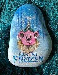 Little Ted's frozen!  Getting ready for Christmas. (Andreadm66) Tags: christmas teddybear teddy littleted frozen handpainted art paintedpebble rockart paintedrock