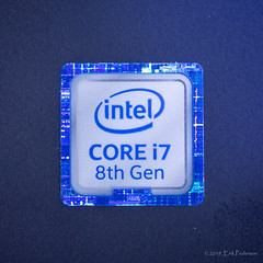 Intel Logo (GoodLifeErik) Tags: macromondays brandandlogos intel core holographic macro metallic blue logo