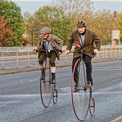 Tuppeny Ha'penny (Croydon Clicker) Tags: wheels vehicles riders passengers people road rally veteran classic londonbrighton croydon london surrey nikon nikkor bicycles pennyfarthing