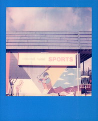 Second Hand Sports (tobysx70) Tags: color film polaroid for originals 600 street blue sports frames hand east cameras type second expired edition slr680 denton mckinney urban art sign shop store mural texas baseball tx bat player tennis racket toby sky clouds photography hancock polacon polacon4 polacon2019 092819
