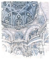 Turin, san Lorenzo (gerard michel) Tags: italia torino église coupole baroque guarini sketch croquis