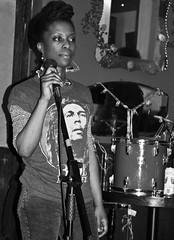 Ese & Bob (The_Kevster) Tags: eseokorodudu esethevooduupeople woman portrait person gig concert microphone monochrome bw mic blackandwhite singer tshirt bobmarley london brixton sw2 quadrafonmusicindustries quadrafon qmi nikon dslr nikond3300 star