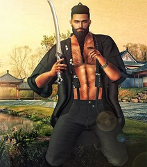 [ 📷 - 150 ] (insociable.sl) Tags: travel light boy hairy man black tree male japan beard landscape japanese model ninja sl secondlife saber kimono blade edit samourai viking magnificient