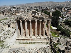 Great view from above.Created by Drone. Ancient city Baalbek. Highest antique temple. Lebanon. Pearl of Middle East. Unesco world heritage (Alexandr Tikki) Tags: building roman world old city lebanon stone architecture ancient famous religion ruin landmark archeology baalbek travel monument temple outdoor antique culture unesco east column jupiter lebanese baalbeck heliopolis rome heritage wall historic valley bacchus empire civilization preserved middle pillars remains dionysus templeofbacchus sky castle tourism town site god archaeological touristattractions