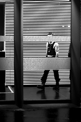The blindfolded cop (pascalcolin1) Tags: paris13 homme man flic cop police policier bandes stripes nuit night yeux eyes bandés blind fenêtre window photoderue streetview urbanarte noiretblanc blackandwhite photopascalcolin 50mm canon50mm canon