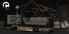 Contrast - Omaha for 6th Republic Event (reigningcatastrophe) Tags: 6republic furniture army camo helmet secondlife couch contrast sl virtual