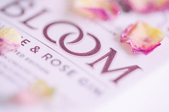 Bloom (judi may) Tags: macromonday macro macromondays logo bloom gin pink highkey rosepetals petals tabletopphotography canon5d bokeh depthoffield dof brandandlogos
