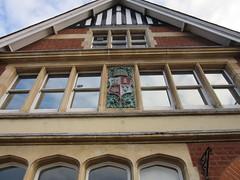 Lloyd's Bank, Poplar Road, Solihull (LookaroundAnne) Tags: gwuk shield arms coatofarms beehive detail bank lloydsbank architecture solihull sky reflection