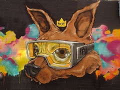 Rocky the Dog Goggles (mikecogh) Tags: northadelaide publicart streetart dog rocky goggles crown fangs