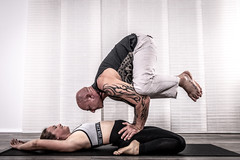 The master and his student (madmtbmax) Tags: yoga ayurveda sports fit fitness body male female flexible master posing model sportsphotography germanmodel girl woman femme frau donna uomo homme man tattoo tattooed ink inked muscle extraordinary unusual nikon d850