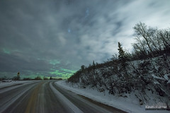 Icy Steese Highway (kevin-palmer) Tags: fairbanks alaska october fall autumn evening cold nikond750 sigma14mmf18 steesehighway clearysummit cloudy clouds overcast night sky stars snow snowy icy road green aurora auroraborealis northernlights trees north