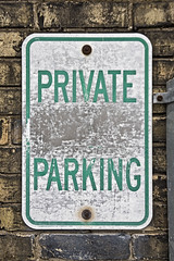 Green (jkotrub) Tags: color colorful coloring2019 coloring colors green sign design parking private parkinglot road street wear worn decay metal hard wall brick