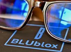 Blublox (vshorty) Tags: macromondays brandandlogos blueblockingglasses blublox