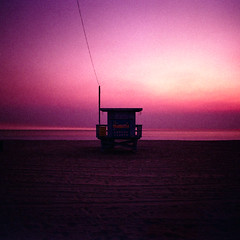 ave 26. venice beach, ca. 2019. (eyetwist) Tags: eyetwistkevinballuff eyetwist ave26 venicebeach lifeguard pacificocean sand longexposure neutraldensity agfaagfachrome50rs xpro crossprocess cross process processed ishootfilm ishootkodak mamiya 6mf 50mm agfa agfachrome 50 rs expired crossprocessed mamiya6mf mamiya50mmf4l crossprocessede6c41 analog analogue film emulsion mamiya6 square 6x6 mediumformat 120 primes filmexif epsonv750pro iconla lenstagger venice beach la oceanfrontwalk pacific ocean baywatch 26thavenue losangeles socal california westla angeleno waves horizon water tower hut stand seascape bw nd 110 10stop sunset dusk pink magenta saddleridge wildfire fire smoke