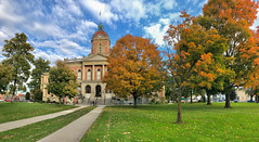 Autumn Arrives in Indiana (4) (tquist24) Tags: elkhartcountycourthouse goshen hdr indiana nikon nikond5300 outdoor architecture autumn city clouds color colorful fall geotagged grass historic lawn outside panorama panoramic sidewalk sky tree trees