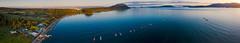 Aerial Shot of Lummi Island and Legoe Bay (EdBob) Tags: lummiisland legoebay reefnet reefnetters drone aerial panorama panoramic lummi island sanjuanislands salishsea pugetsound pacificnorthwest washington washingtonstate westernwashington harbor bay sunset evening summer houses road edmundlowephotography edmundlowe edlowe allmyphotographsare©copyrightedandallrightsreservednoneofthesephotosmaybereproducedandorusedinanyformofpublicationprintortheinternetwithoutmywrittenpermission usa america boats salmonfishing commercial mtbaker baker mount halespass