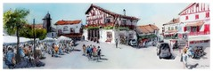 Bidart - Nouvelle Aquitaine - France (guymoll) Tags: bidart basque aquitaine france croquis sketch aquarelle watercolour watercolor aguarela acuarela timbered colombages people personnages panoramique panoramic