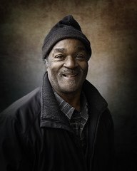 Clyde (mckenziemedia) Tags: man portrait portraiture face smile hat stockingcap street streetphotography chicago city urban people humanity homeless homelessness