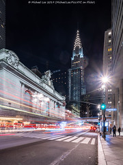 Grand Central and Chrysler (20191103-DSC08505-Edit) (Michael.Lee.Pics.NYC) Tags: newyork night longexposure lighttrail architecture cityscape grandcentralterminal chryslerbuilding street 42ndstreet shiftlens sony a7rm4 laowa12mmf28 magicshiftconverter