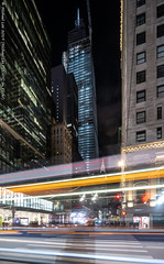 Fifth and 42nd (20191103-DSC08486) (Michael.Lee.Pics.NYC) Tags: newyork night longexposure lighttrail architecture cityscape onevanderbilt chryslerbuilding street 42ndstreet shiftlens sony a7rm4 laowa12mmf28 magicshiftconverter construction