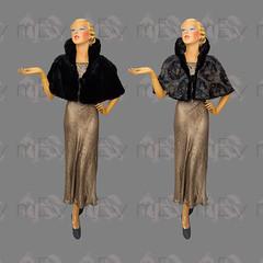 1940s 1950s Reversible Silk Brocade and Fur Capelet (Rickenbackerglory.) Tags: vintage 1940s 1950s reversible silk brocade fur capelet siegel mannequin