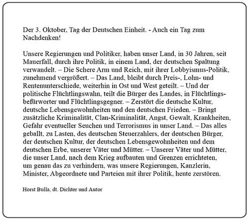 Der 3. Oktober, Tag der Deutschen Einheit. - Auch ein Tag zum Nachdenken!  Kurzversion - Horst Bulla, dt. Dichter (1)