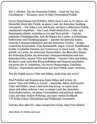 Der 3. Oktober, Tag der Deutschen Einheit. - Resümee, nach 30 Jahre Deutschland Politik - Langversion  - Horst Bulla, dt. Dichter (1)
