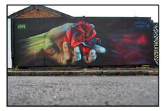 LONDON STREET ART by AIRBORNE MARK (StockCarPete) Tags: airbornemark rose flower origami hand streetart londonstreetart urbanart graffiti londongraffiti penge pengeart london uk