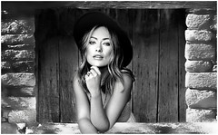 (horlo) Tags: bw blackandwhite noiretblanc wallpaper fonddécran actress actrice portrait nb glamour oliviawilde monochrome woman femme collage